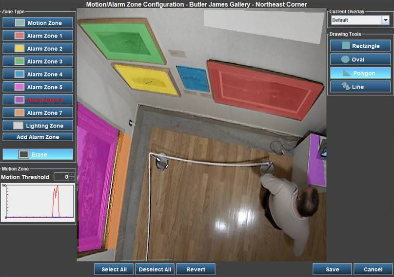 Museum Security Camera Multi-Zone Screenshot